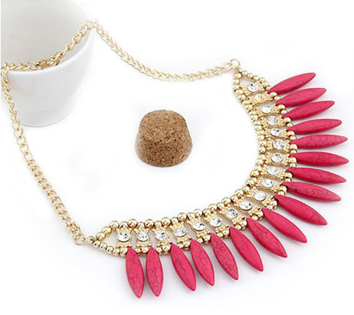 Egyptische koningin ketting roze/rood