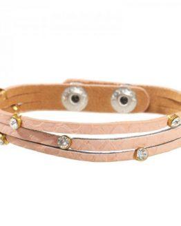 Armband roze met steentjes