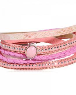 wikkelarmband studs roze