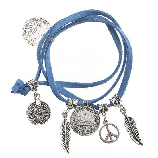 Hippe blauwe armband met bedels