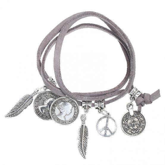 hippe grijze armband met bedels