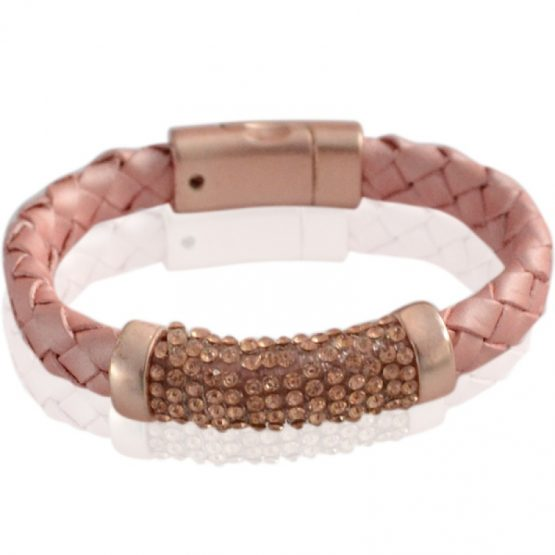 Chique armband roze met strass