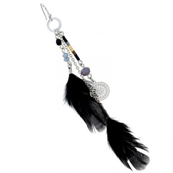 oorbellen ibizastyle zwart veren