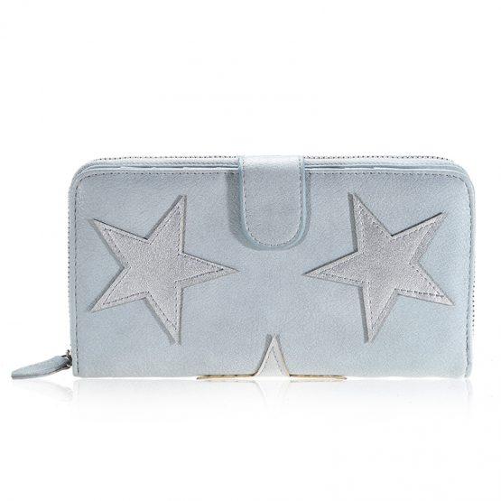 Wallet stars double grijs/blauw