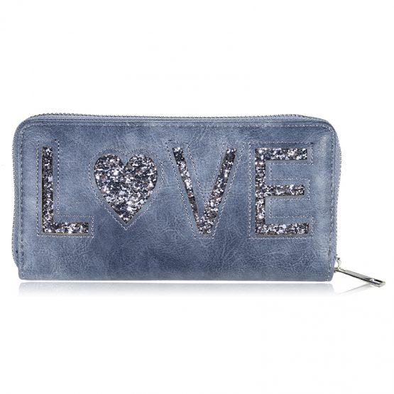 Portemonnee wallet love blauw