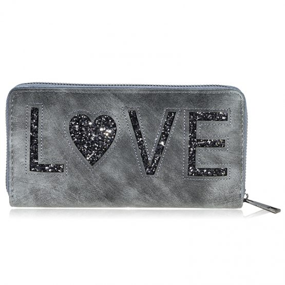 Portemonnee wallet love grijs