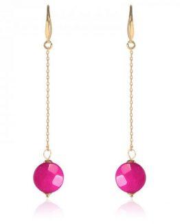 trendy oorbellen met roze hanger