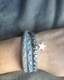 Wikkelarmband studs & ster blauw