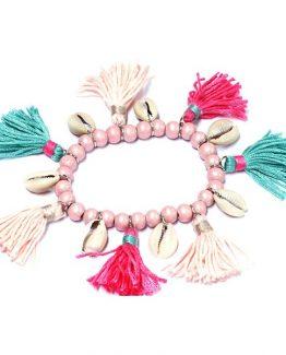 ibiza armband met franjes pink