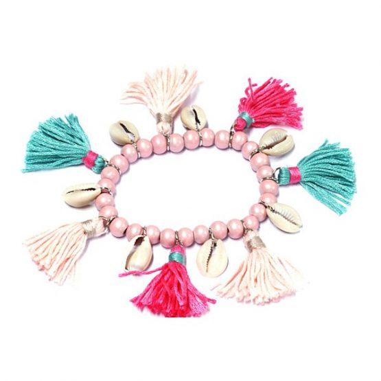 ibiza armband met franjes roze