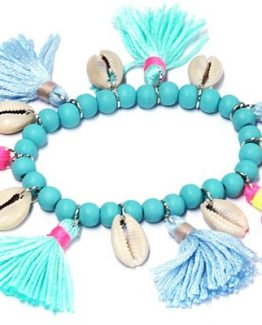 ibiza armband met franjes blauw