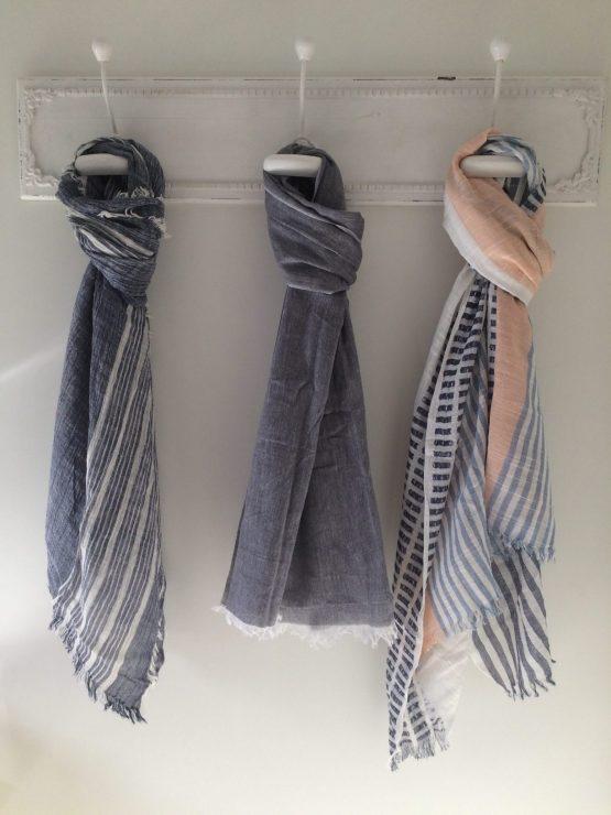 sjaal uni blauw, grijs, multi