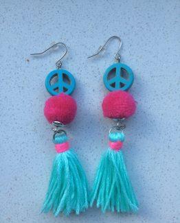 oorbellen peace blauw