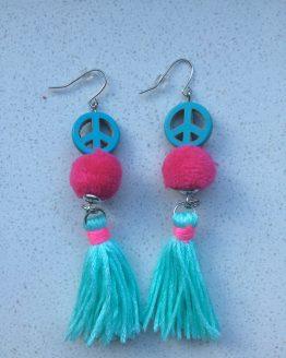 oorbellen peace blauw ibizastyle