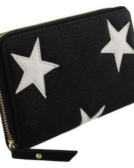 zwarte portemonnee met witte sterren