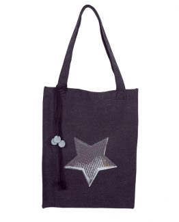 Grote shopper met ster, glitter pailletten en pompons