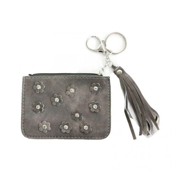 Hippe portemonnee met bloemen, de portemonnee kan ook als sleutelhanger worden gebruikt