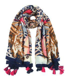 heerlijke warme en grote sjaal met trendy print