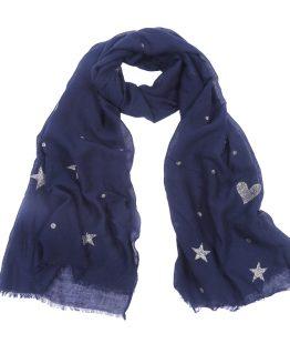 mooie blauwe sjaal met glitters sterren en hartjes