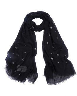 mooie zwarte sjaal met glitters sterren en hartjes