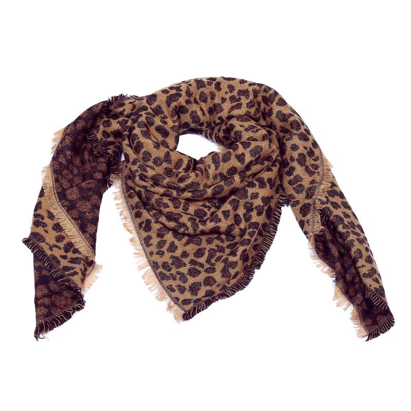 mode stijlen korting te koop goedkoop te koop Stoere bruine sjaal met luipaard print