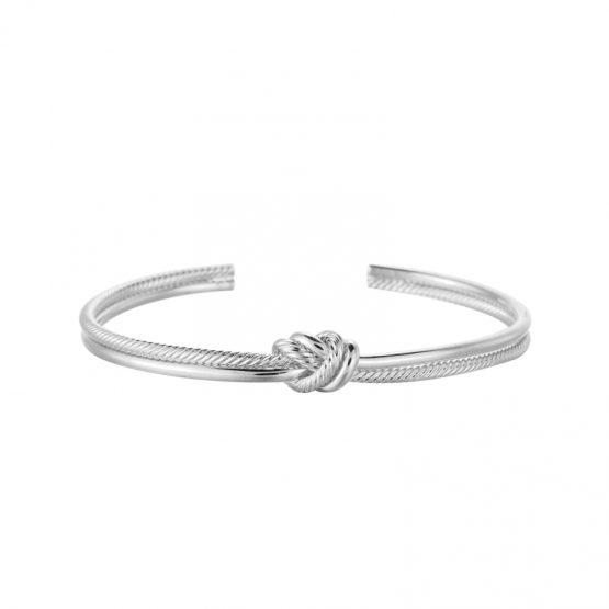 hippe zilverkleurige armband met knot