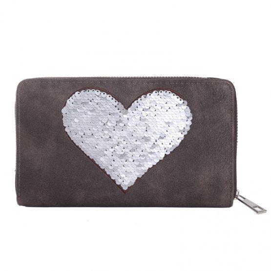 portemonnee met hart van pailletten