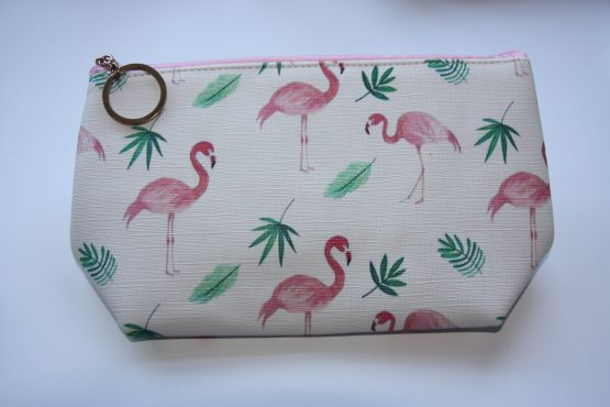 make up tas toilettas flamingo met palmen