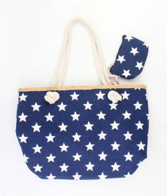 Blauwe strandtas shopper met sterren