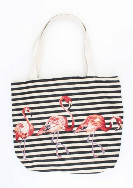 zwart wit shopper strandtas met flamingo's