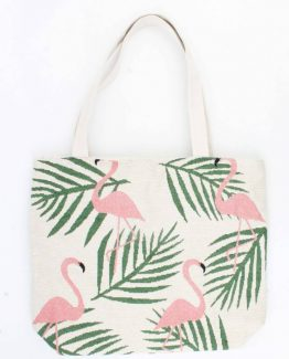 strandtas shopper met flamingo