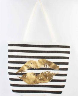 zwart wit gestreepte shopper strandtas met lippen