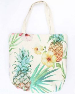 Vrolijke shopper strandtas met bloemen en ananas