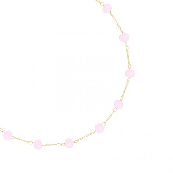 enkelbandje met roze steentjes