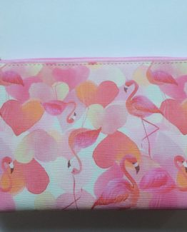 roze make-up tasje met flamingo en hartjes