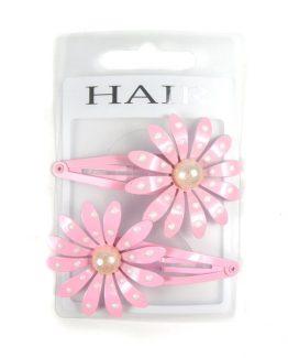 klikklak haarspeldjes met bloem en stippen