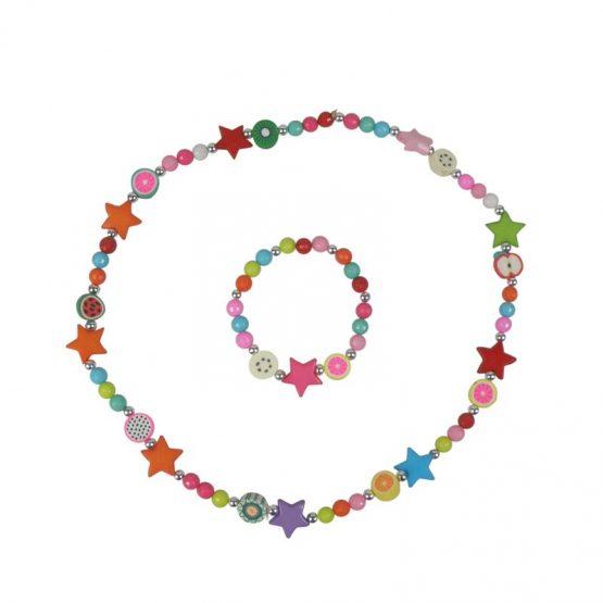 kinderketting en armband met gekleurde kralen en sterren