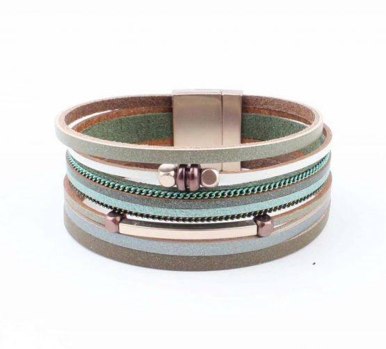 groene wikkelarmband met magneetsluiting