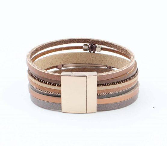 bruine wikkelarmband met magneetsluiting