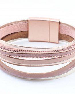 oudroze wikkelarmband met magneetsluiting
