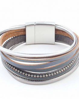 grijze wikkelarmband met magneetsluiting