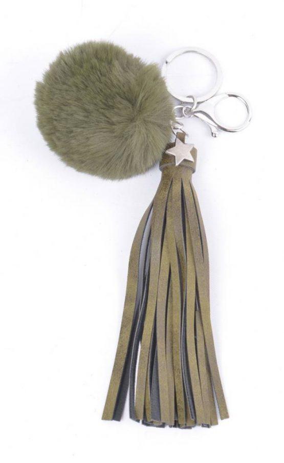 sleutelhanger tassenhanger met kwastje en pompon