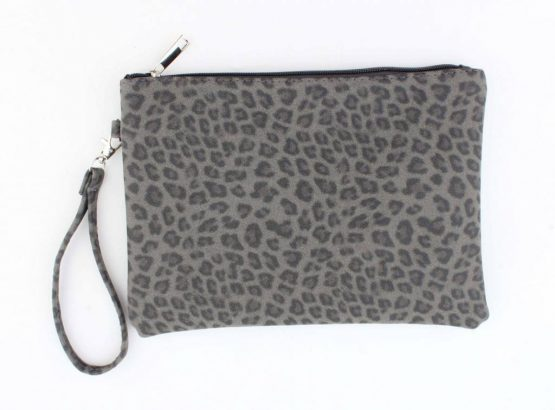 clutch panterprint leopard grijs