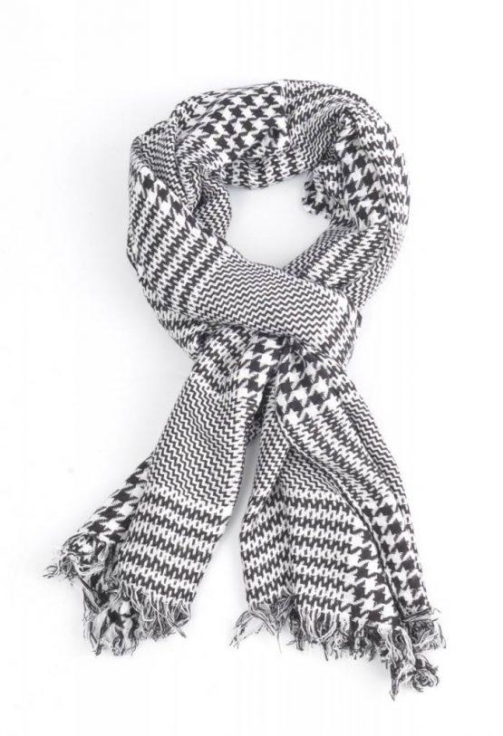 sjaal pied de coq zwart wit