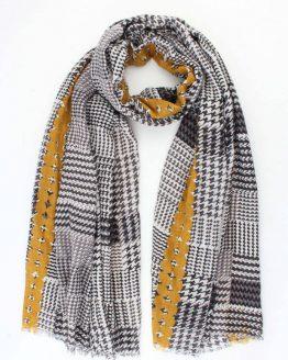 sjaal pied de poule okergeel