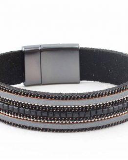 zwarte strass armband