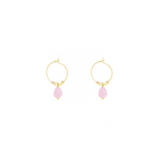 trendy oorbellen met roze blauw of zwart steentje