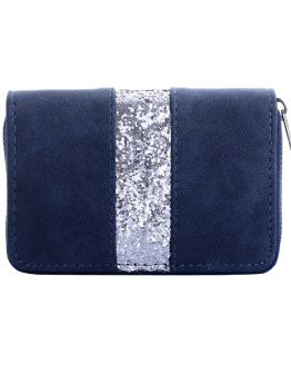 blauwe portemonnee met glitters