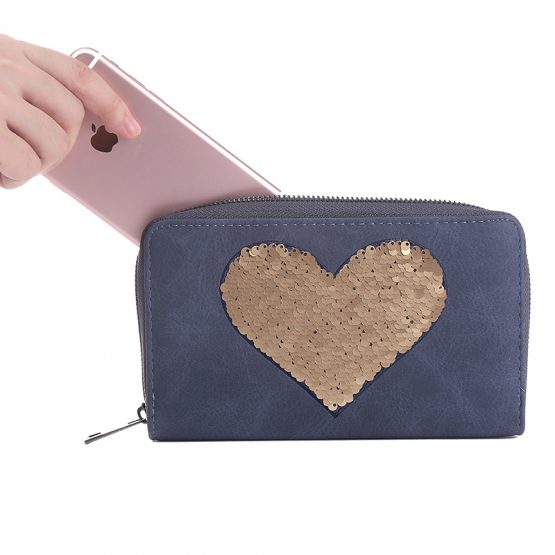 blauwe portemonnee met pailletten