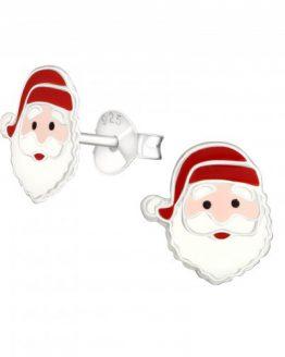 zilveren kinderoorbellen met kerstman